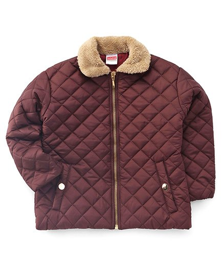 Babyhug Full Sleeves Quilted Jacket - Brown