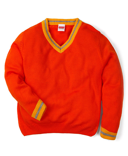 Babyhug Full Sleeves Solid Color Contrast V Neck Sweater - Orange