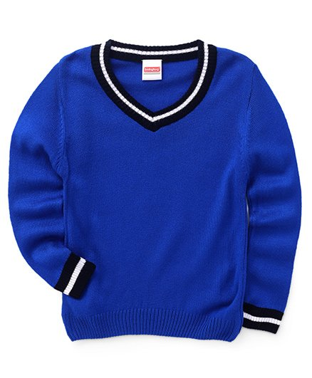 Babyhug Full Sleeves Solid Color Contrast V Neck Sweater - Blue