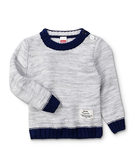 Babyhug Full Sleeves Solid Color Contrast Round Neck Sweater - Grey