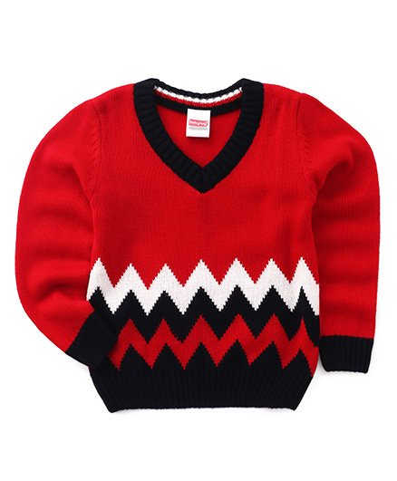 Babyhug Full Sleeves Sweater Chevron Design - Red Black