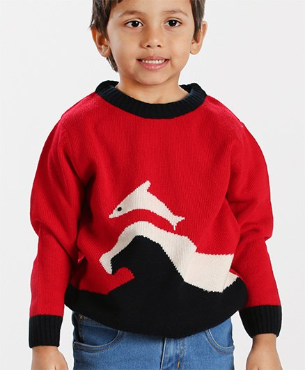 Babyhug Full Sleeves Sweater Dolphin Design - Red Black