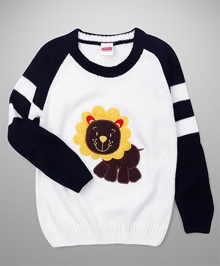 Babyhug Full Sleeves Sweater Lion Patch - Off White & Navy Blue