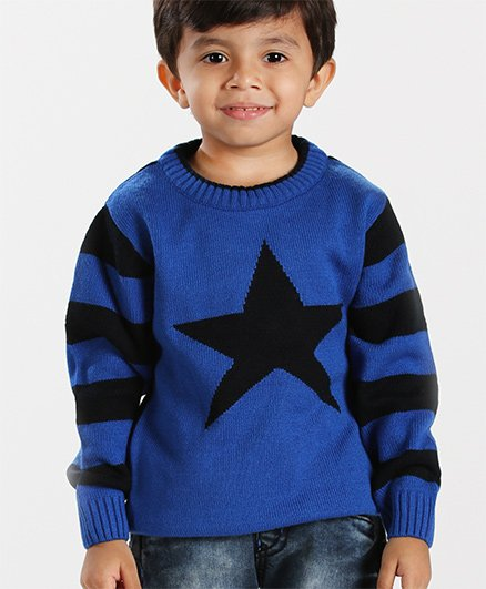 Babyhug Full Sleeves Sweater Star Design - Royal Blue Black