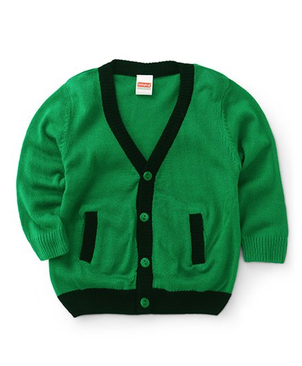 Babyhug Full Sleeves Cardigan Sweater - Green Black