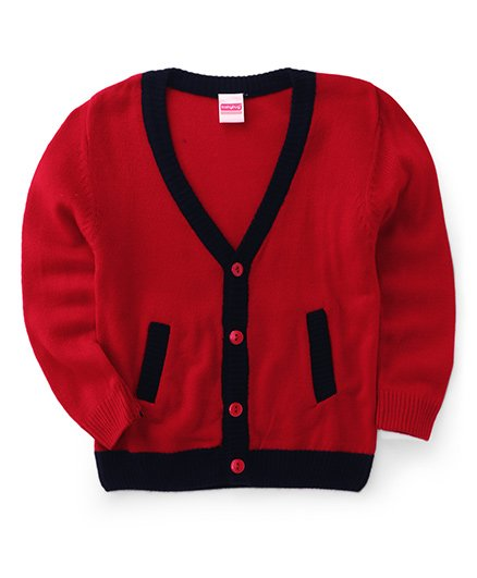Babyhug Full Sleeves Cardigan Sweater - Red Black
