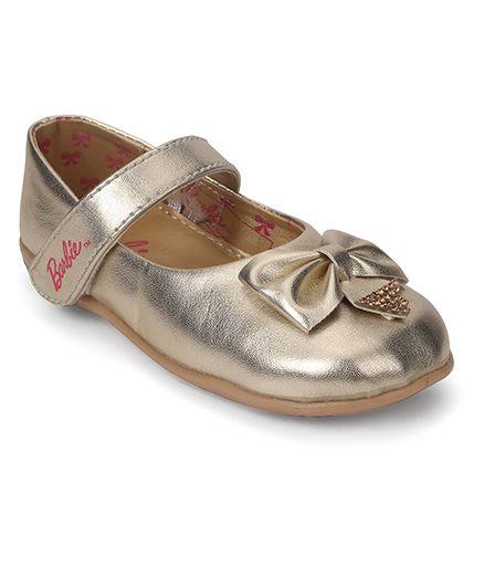 Barbie Belly Shoes Bow Applique Velcro Closure - Metalic Gold