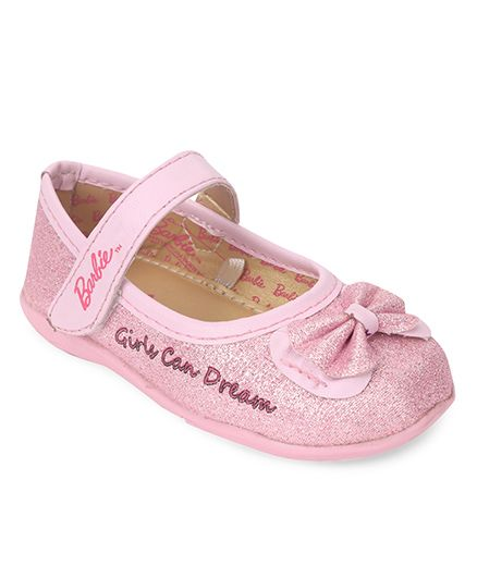 Barbie Belly Shoes Bow Applique Velcro Closure - Light Pink