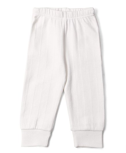Babyhug Solid Color Thermal Wear Bottoms - Off White