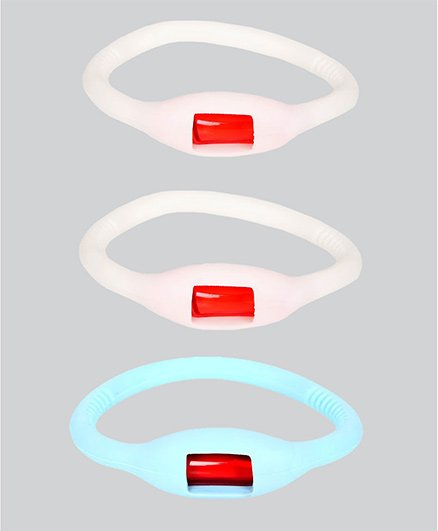 Safe-O-Kid Glow In Dark Mosquito Repellent Band White & Blue - Pack Of 3