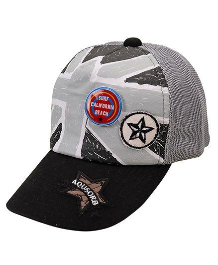 Little Wonder Star Print Cap - Grey & Black