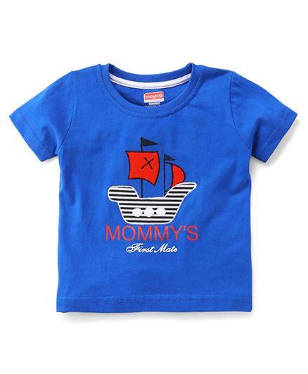 Babyhug Half Sleeves T-Shirt Ship Embroidery - Royal Blue