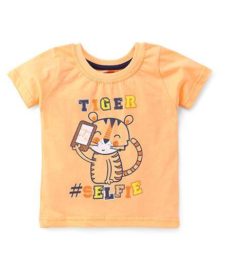 Babyhug Half Sleeves T-shirt Tiger Print - Peach