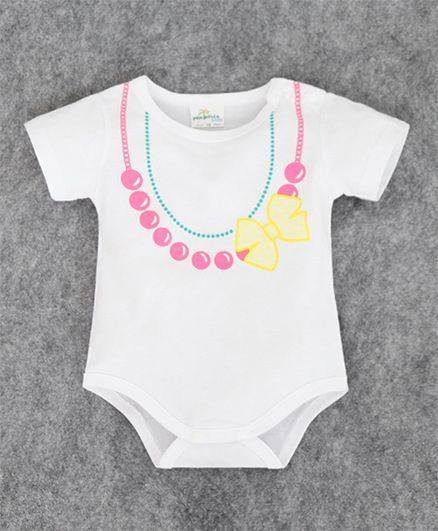 Superfie Necklace Print Onesie - White & Pink