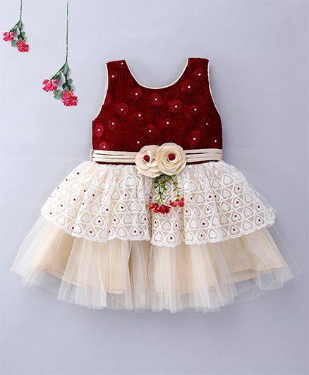 Enfance Sleeveless Velvet Party Wear Dress - Maroon & Cream