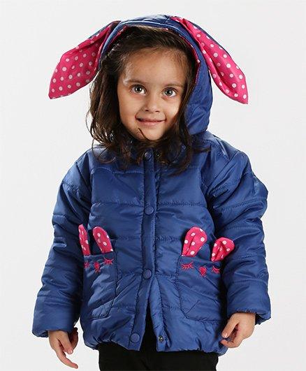 Babyhug Full Sleeves Hooded Front Open Jacket - Blue & Pink