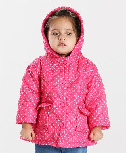 Babyhug Full Sleeves Hooded Jacket Dots Print - Pink