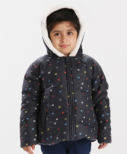 Babyhug Full Sleeves Hooded Jacket Bow Print - Navy Blue