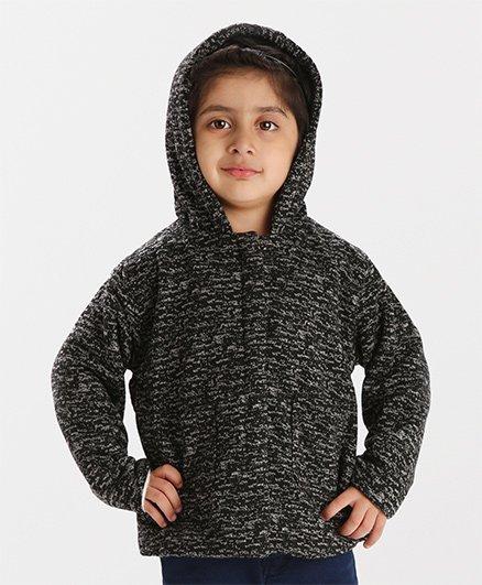 Babyhug Full Sleeves Front Open Hooded Jacket - Dark Grey