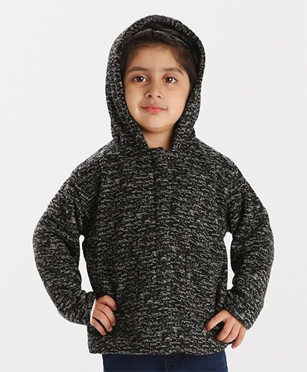 Babyhug Full Sleeves Front Open Hooded Jacket - Dark Grey