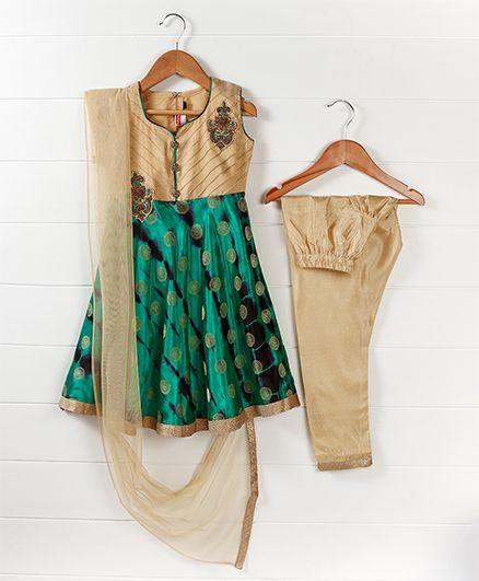 Babyhug Sleeveless Kurti And Salwaar With Dupatta Embroidered Design - Green