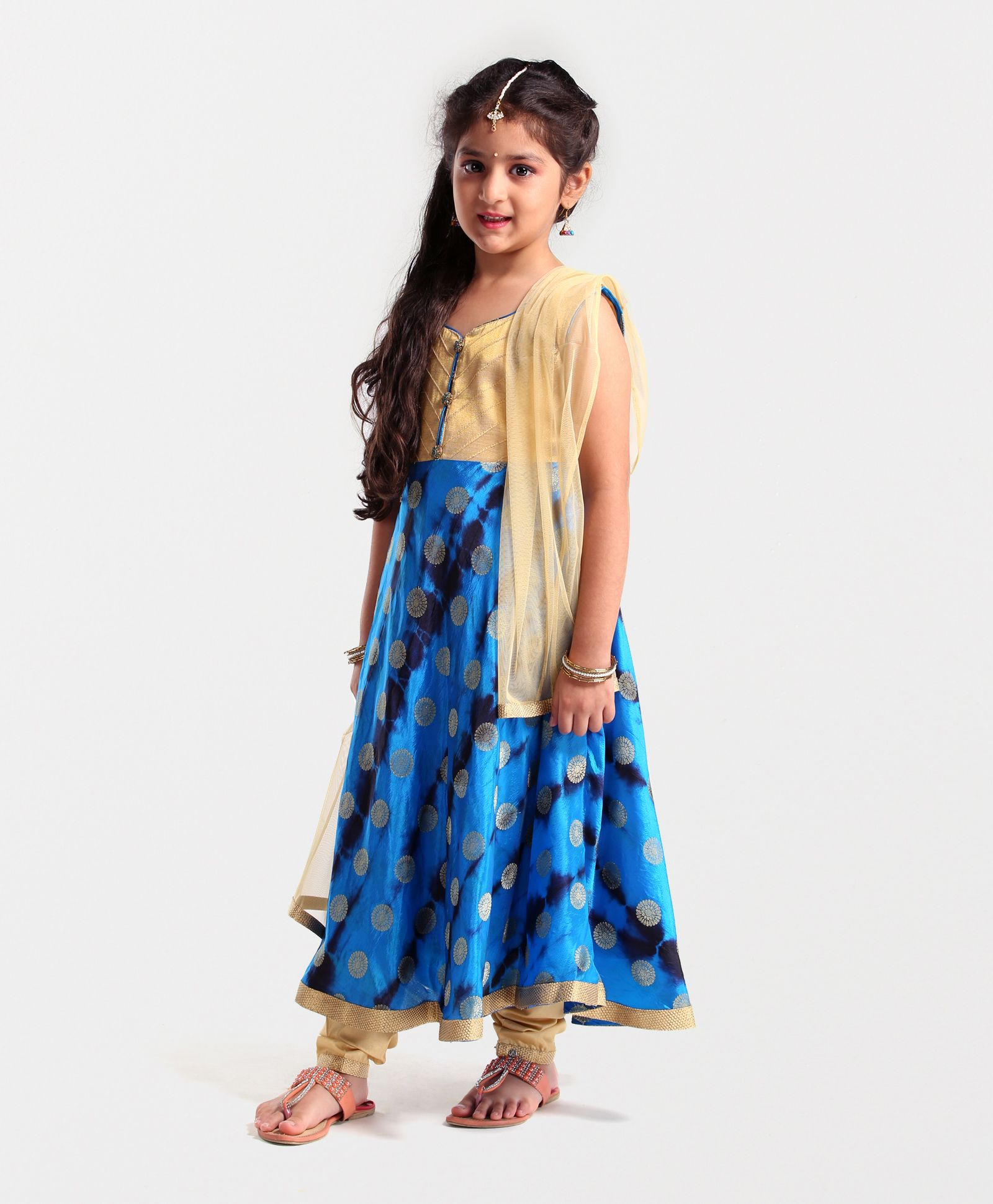 Babyhug Sleeveless Kurti And Salwaar With Dupatta Embroidered Design - Blue