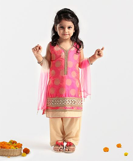 Babyhug Sleeveless Kurti And Salwaar With Dupatta - Coral