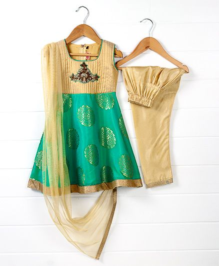 Babyhug Sleeveless Kurti And Salwaar With Dupatta Embroidered Design - Green