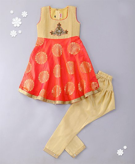 Babyhug Sleeveless Kurti And Salwaar With Dupatta Embroidered Design - Coral