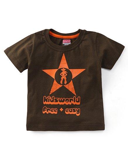 Babyhug Half Sleeves Printed T-Shirt - Olive Green