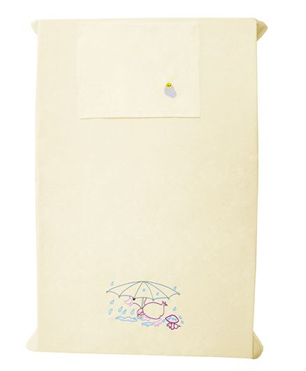 Baby Rap Duck In The Rain Design Crib Sheet With Pillow Cover - Yellow
