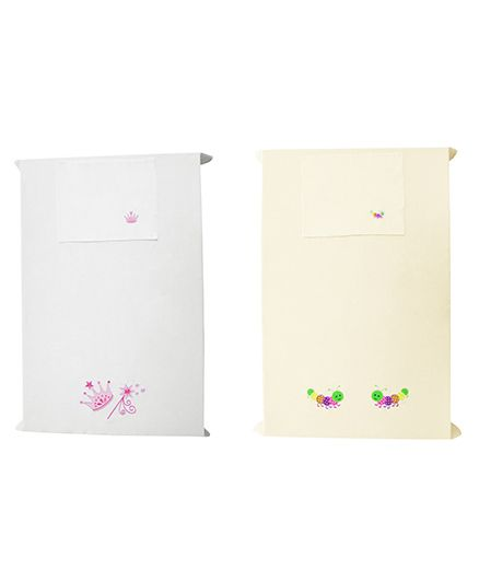 Baby Rap Princess And Caterpillars Design Crib Sheet With Pillow Cover Set Of 2 - White Lemon