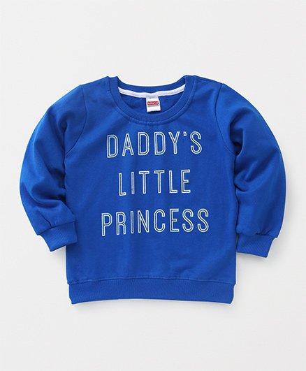 Babyhug Full Sleeves Sweatshirt Text Design - Royal Blue