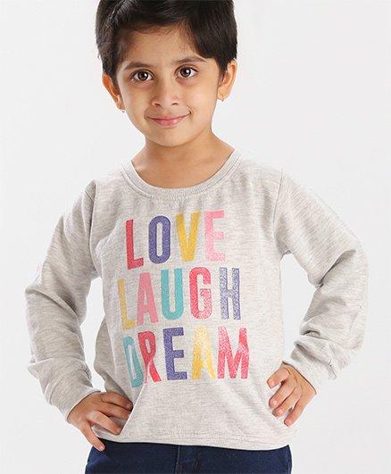 Babyhug Full Sleeves Sweatshirt Text Design - Light Grey