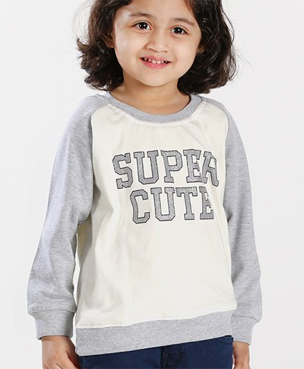 Babyhug Full Sleeves Pullover Sweatshirt Super Cute Print - Off White & Grey