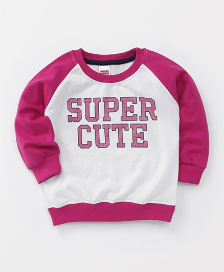 Babyhug Full Sleeves Pullover Sweatshirt Super Cute Print - Dark Pink & Off White