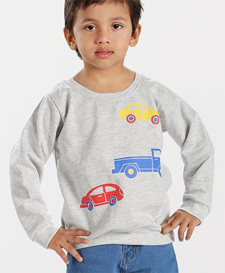 Babyhug Full Sleeves Pullover Sweatshirt Car Print - Grey