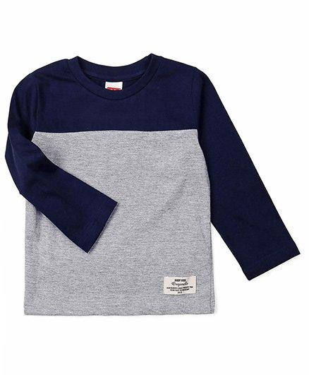 Babyhug Full Sleeves T-Shirt - Navy Blue Grey