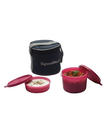 Signoraware Plastic Small Lunch Box With Bag Pink - Set of 2