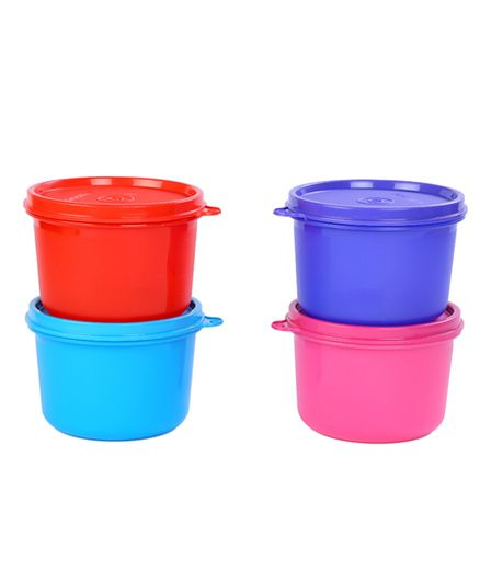 Signoraware Cylindrical Containers Set Of 4 Multi Color - 450 ml