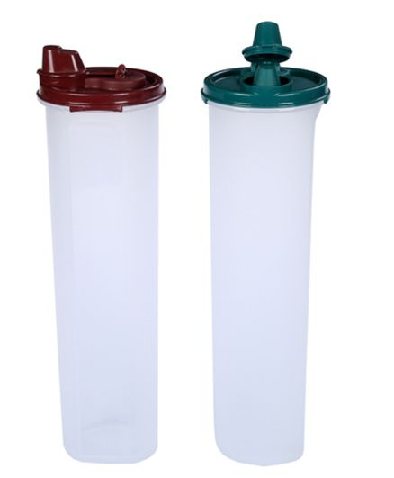 Signoraware Cylindrical 1Containers Set Of 2 Green Maroon - 1.1 liter
