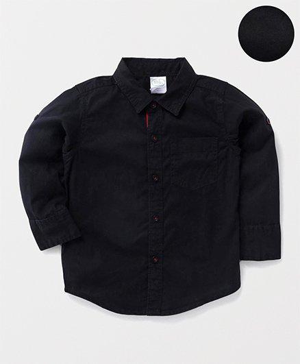 Babyhug Full Sleeves Solid Shirt With One Pocket - Black