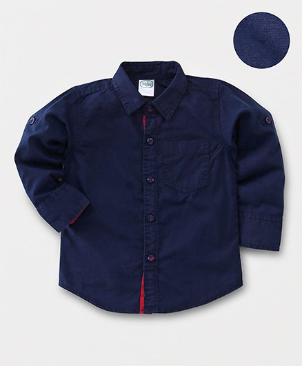 Babyhug Full Sleeves Solid Shirt With One Pocket - Navy Blue