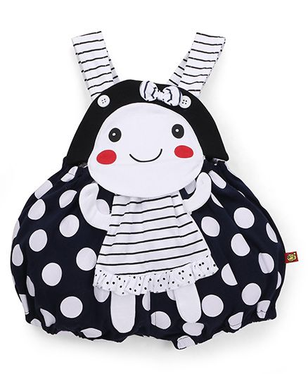 Wow Clothes Polka Dot Dungaree Bow Applique - Navy White