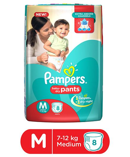 Pampers Pant Style Diapers Medium - 8 Pieces