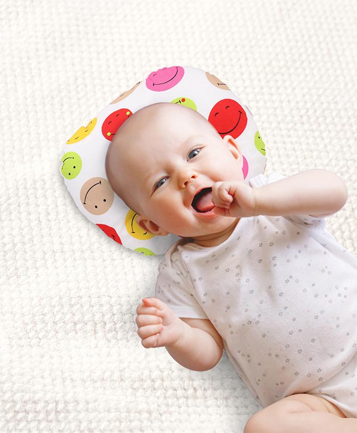 Babyhug Baby Pillow Smiley Print - White