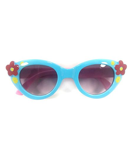 Kidofash Flower Applique Sunglasses With Hard Case - Pink & Blue
