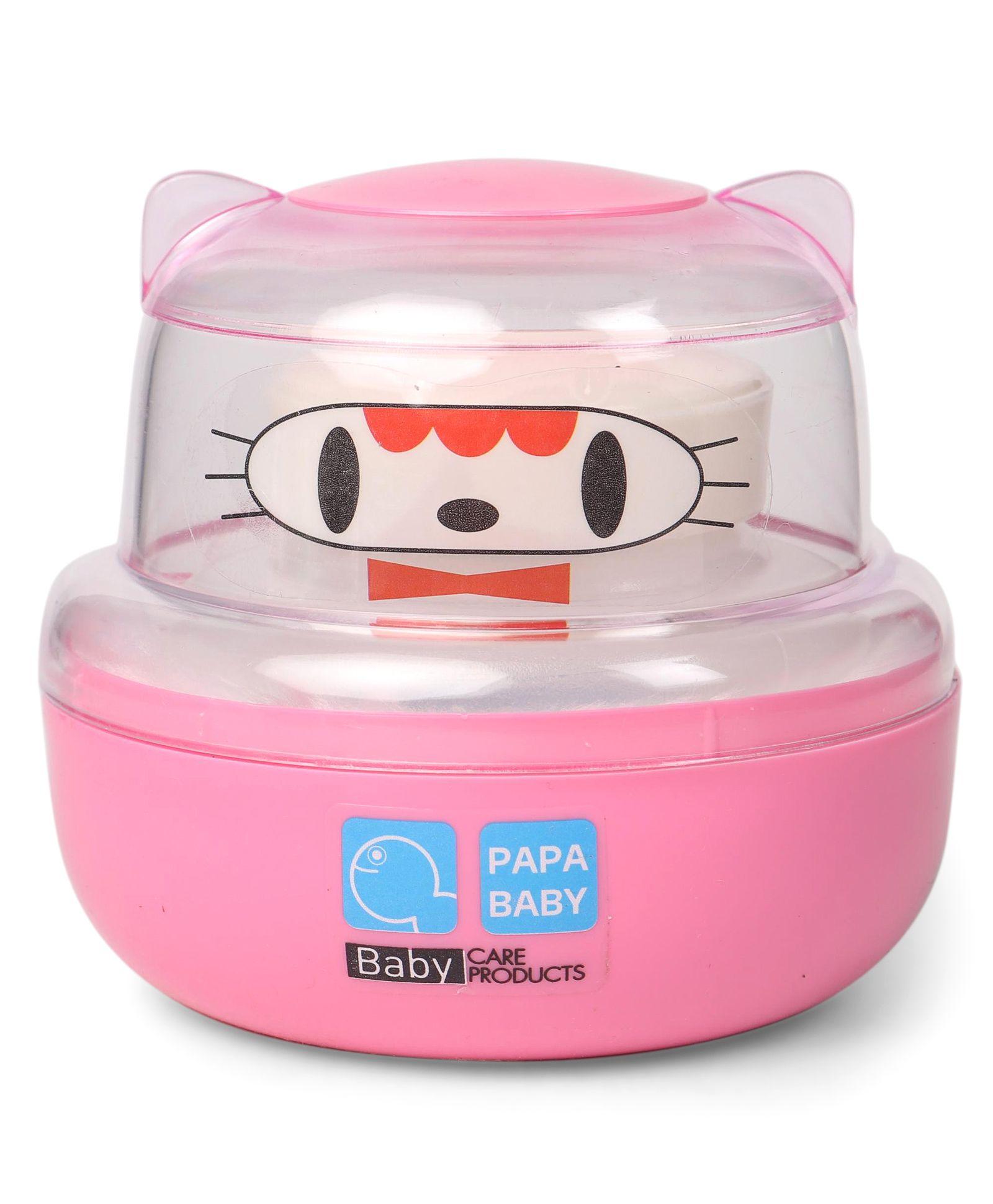 Papa Baby Powder Puff Kitty Face Design - Pink