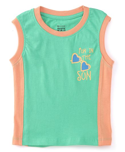Ohms Sleeveless T-Shirt Fun In Sun Print - Peach Green