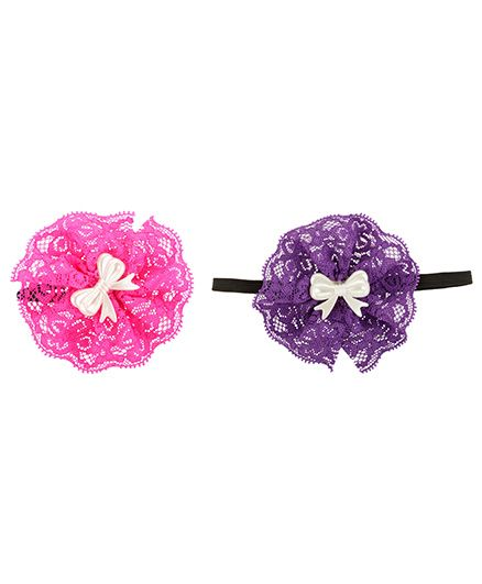 Funkrafts Satin Rose Hair Clips - Pink & Purple